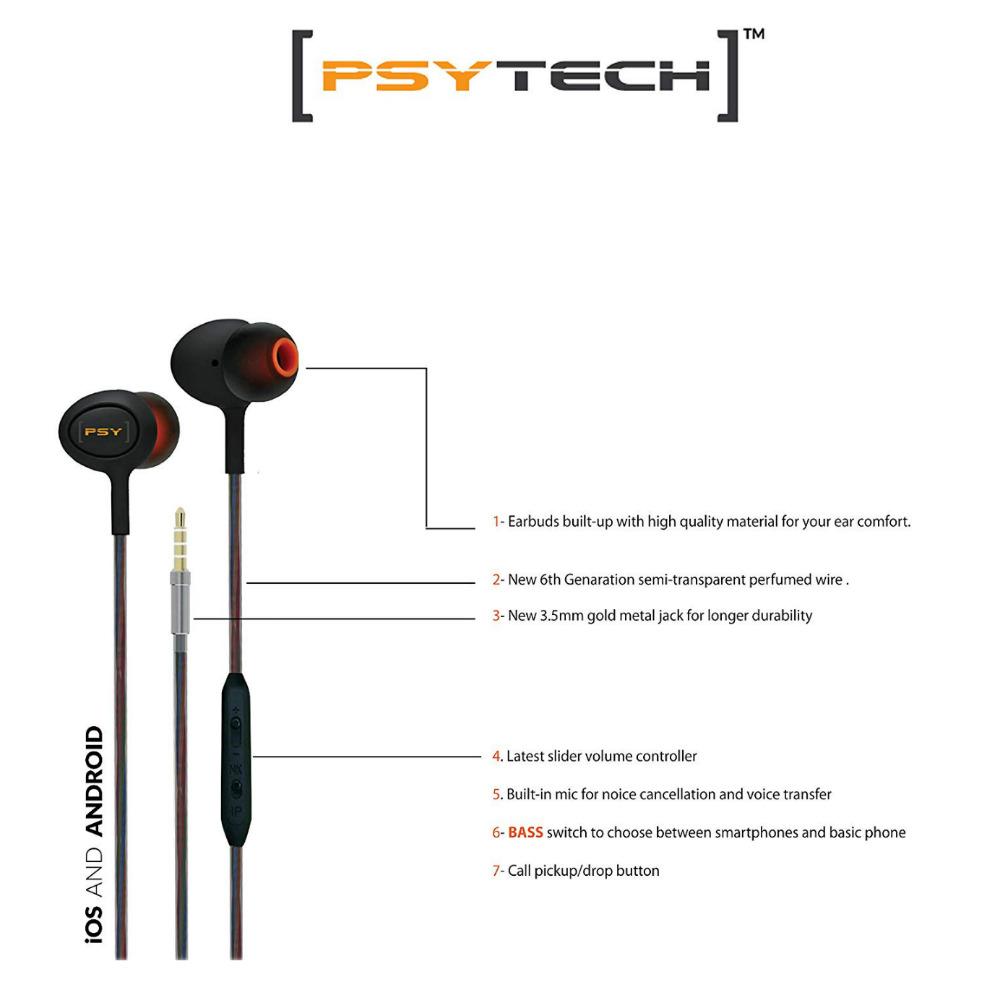 PSYTECH 4D Ultra Bass Wired Earphone (In Ear) 6 Months Warranty + Free  Shipping